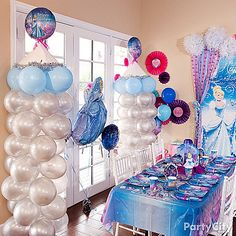 Add a magical kingdom look to your party room with darling DIY castle balloon columns! No fairy godmother necessary! Click for our balloon column how-to!