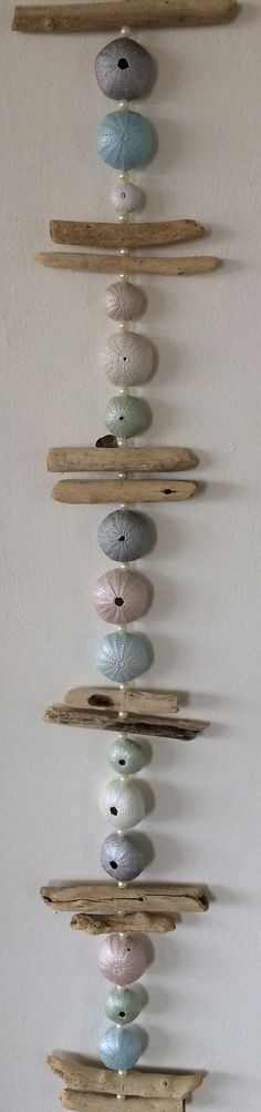 Pearl Painted Sea Urchin and Driftwood wall hanging by Penni-Lee
