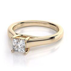 Princess Cut Trellis Diamond Diamond Engagement Ring in 18k Yellow Gold (.50ct)