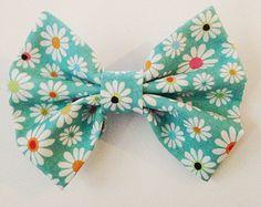 bleu bow cheveux floral, turquoise Hair Bow pour les femmes, arc de cheveux pour les ados, arc de tissu, pince à cheveux noeud, accessoire d...