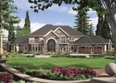 HOUSE PLAN 2559-00593 – This sprawling Traditional house design features a welcoming and attractive exterior. There are approximately 6,497 square feet of living space within the home's interior that includes five bedrooms, six plus baths and a great layout for entertaining.