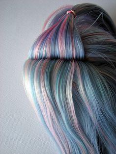 pastel rainbow hair color pink blue #haircolor #hairdye #hairchalk