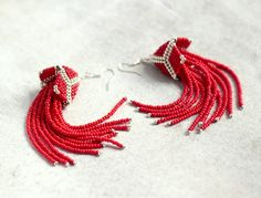 Red Beaded Tassel Earrings Long Red Earrings by HeriniaJewelry
