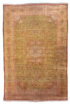 Antique Silk Tabriz Rug Rag