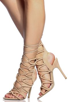 b03d49b08510 Nude Faux Suede Cut Out Lace Up Single Sole Heels   Cicihot Heel Shoes  online store sales Stiletto Heel Shoes