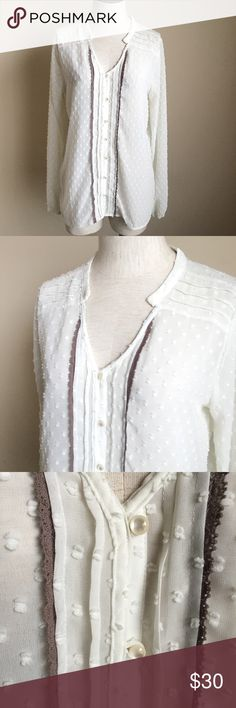 """Matilda Jane MJ Friends Forever Renae White Swiss Matilda Jane MJ Friends Forever Renae White Swiss Dot Tie Top Shirt   Women's size Medium   Good condition  Sheer with texture detail  100% Polyester  Production Date April 2015  This shirt originally had ties at the neck, those were cut off, not noticeable but the last photo shows where they were cut at  Measurements taken while laying flat:  19"""" armpit to armpit 26"""" length  19"""" waist Matilda Jane Tops"""