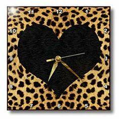 Amazon.com: 3dRose LLC Punk Rockabilly Cheetah Animal Print Black Heart Wall Clock, 10 by 10-Inch: Home & Kitchen