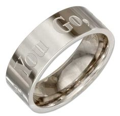 """STAINLESS STEEL 8MM """"WHERE YOU GO I WILL GO"""" MENS WEDDING BAND RING"""