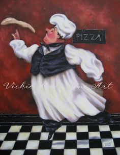 Pizza Chef Art Print, fat chefs wall decor, chef art, chef paintings, fat chef…