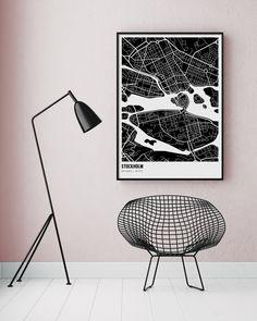 Black and white Stockholm map poster #blackandwhite #modern #scandinavian #interior #geometric #illustration #poster #stockholm #map
