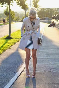 Nude valentino rockstud, satin stripe and trench coat