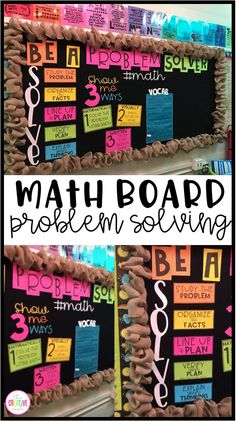 Create an interactive math bulletin board to use in your classroom! This board includes problem solving strategies and a math key terms area where students can interact.  All you have to do is choose your favorite color paper, print, cut, and place on your board or wall.