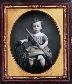 Boy Holding Toy Rifle Gun RARE 6th Plate Beautiful Tinted Daguerreotype