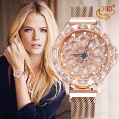 Luxury Rotating Women Watch Elegant and simple watch that matches perfectly with your outfits! Dial Diameter: Band Length: Case Thickness: Band Width: Weight: Package includes: 1 x Luxury Rotating Women Watch Gold Watches Women, Watches For Men, Popular Watches, Simple Watches, Stylish Watches, Nice Watches, Elegant Watches, Beautiful Watches, Foto Real