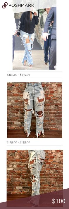 Kim K Jeans 👖 Super destroyed! Hot Hot Hot. Worn once. Payed $125 for these jeans to be custom made so I will not honor low balls. Vintage Levi's. Size 32. Fits a 6/8 well for the way Kim rocked them. (Oversized) Fashion Nova Jeans Boyfriend