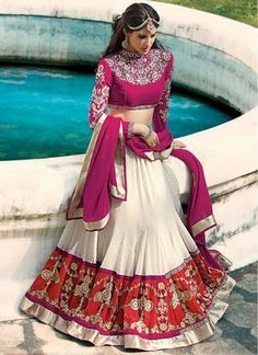 Off White With Violet  Circular Lehenga Choli Online Designs ,Indian Dresses - 1