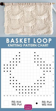 Knitting Chart for the Basket Loop Stitch. It is an easy pattern with an illusion of interwoven rings atop a background of vertical pillars. patterns for beginners Basket Loop Stitch Knitting Pattern Knitting Stiches, Knitting Charts, Easy Knitting, Knitting For Beginners, Loom Knitting, Knitting Patterns, Crochet Patterns, Knit Stitches, Knitting Machine