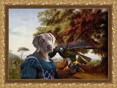 Weimaraner Art CANVAS Print Fine Artwork of Nobility Dogs Dog Portrait Dog Painting Dog Art Dog Print