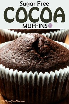 This is the tastiest recipe for Sugar Free Cocoa Muffins. This recipe can also be made gluten free or low carb as well as sugar free. Diabetic Snacks, Healthy Snacks For Diabetics, Diabetic Recipes, Diabetic Muffins, Pre Diabetic, Deserts For Diabetics, Diabetic Cookbook, Healthy Carbs, Cake Recipes