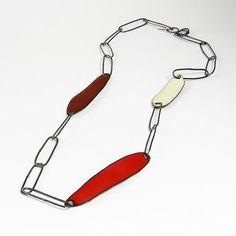 Links necklace. Sterling, copper, and enamel. By Deborrah Daher.