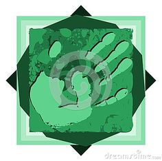Illustration representing the print of an hand on a colorful background made with spots