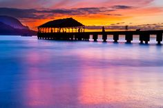 WATERCOLOR PIER  Hanalei Bay, Kauai, Hawaii