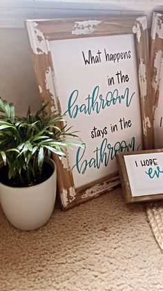Rustic Wood Signs, Bathroom Signs, Bathroom Furniture, Wood Crafts, Farmhouse Decor, Home Decor, Decoration Home, Room Decor, Bath Sign