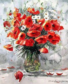 CELAL GÜNAYDIN Türkish Artist  Bazen bir çiçek gözü bakar Günün değişir..  suluboya....40x32 cm.