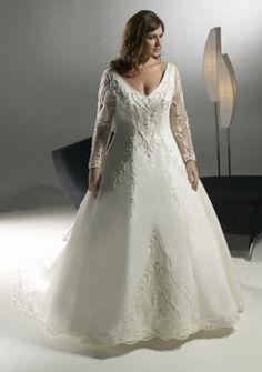 2012 V-Ausschnitt Lange Ärmel Brautkleider Große Größen