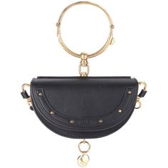 Chloé Nile Minaudière Leather Crossbody Bag ($1,665) ❤ liked on Polyvore featuring bags, handbags, shoulder bags, black, leather shoulder bag, leather handbags, chloe purse, crossbody purse and genuine leather crossbody handbags