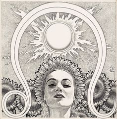 Virgil Finlay, Astrology magazine, story illustration, circa 1950s