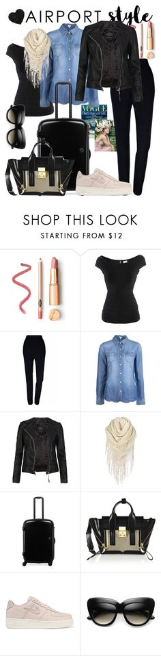 """""""#AirportStyle"""" by fairy-18 ❤ liked on Polyvore featuring Hervé Léger, Plakinger, Splendid, AllSaints, Home Decorators Collection, 3.1 Phillip Lim, NIKE and airportstyle"""