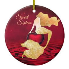 Shop Golden Mermaid with Red Heart Sweet Sixteen Ceramic Ornament created by TheBeachBum. Christmas Tree Ornaments, Christmas Holidays, Mermaid Ornament, Holiday Greeting Cards, Top Gifts, Sweet Sixteen, Party Supplies, Ceramics, Holiday Decor