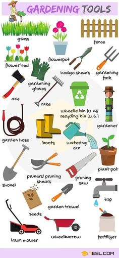 In the Garden Vocabulary in English – ESLBuzz Learning English – Gardening Tools English Resources, English Tips, English Study, Education English, English Lessons, English English, Grammar And Vocabulary, English Vocabulary, English Grammar