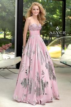 Alyce Paris Prom - 6055 at Estelle's Dressy Dresses A fun and flirty strapless gown with metallic floral prints and a sweetheart neckline perfect for dancing the night away at prom!  #estellesdressydresses #prom2014 #metallic