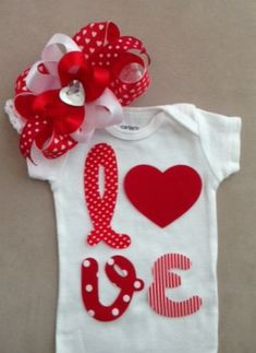 Sewing Ideas For Baby Valentine's Day outfit for baby girls LOVE onesie by rbsDesigns - My Baby Girl, Baby Love, Baby Girls, Valentine's Day Outfit, Outfit Of The Day, Baby Girl Fashion, Kids Fashion, Easy Baby Blanket, Baby Kids Clothes