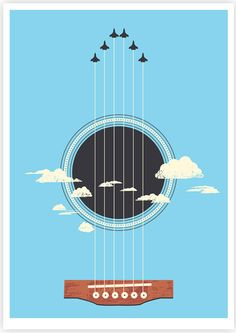 """Sky Guitar"" - illustration by Tang Yau Hoong Music Illustration, Creative Illustration, Graphic Design Illustration, Tang Yau Hoong, Negative Space Art, Guitar Posters, Space Artwork, Guitar Art, Blue Guitar"