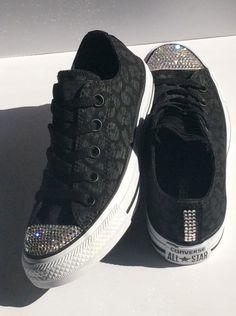 Glitter Kicks Converse  Genuine Swarovski Crystals - Bling Converse - Size  5 Women s Animal Print Shoes fba400599e