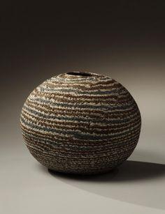 Globular neriage vase, 1982, Japanese contemporary, modern, ceramics, sculpture, Living National Treasure