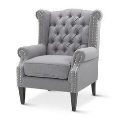 Hyde Park Home Grey Duke Wingback Armchair