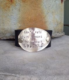Hammered Leather Cuff Never Dull Your by TheDoveCoteBrocante