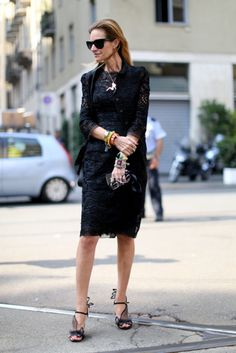 milan fw ss14 street style : black lace dress w/ lots of accessories & dreamy shoes