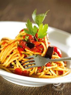 Bucatini with eggplants and tomatoes - I Bucatini con melanzane e pomodori portano sulla tavola tutti gli aromi e i sapori della migliore cucina mediterranea del Belpaese.