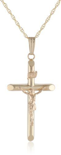 aa79638b3956 Men s 14k Two-Tone or Sterling Silver Hollow Tubular Crucifix Cross Pendant  Necklace - List
