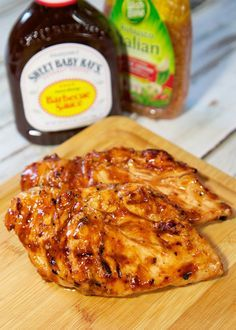 1 cup Sweet Baby Ray's BBQ Sauce 1 cup Italian dressing 4 boneless chicken breasts  Combine Sweet Baby Ray's BBQ Sauce and Italian dressing. Pour over chicken and let marinate in refrigerator 4 hours to overnight.  Grill chicken approximately 15 minutes, or until done.