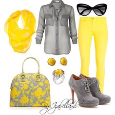 Yellow and Grey, created by izabellaml on Polyvore