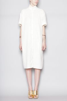 6397 Oversized Shirt Dress (White)