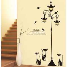 Cheap stickers home decor, Buy Quality wall sticker directly from China wall stickers home decor Suppliers: [Fundecor] diy black cat street light wall stickers home decoration living room nursery children bedroom vinyl decals art kids Wall Stickers Animals, Kids Room Wall Stickers, Cheap Wall Stickers, Mirror Wall Stickers, Wall Stickers Murals, Wall Decals, Vinyl Decals, Custom Car Decals, Custom Stickers