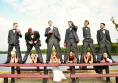 What a unique and cute idea for a wedding party photo!