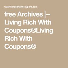 free Archives |-- Living Rich With Coupons®Living Rich With Coupons®